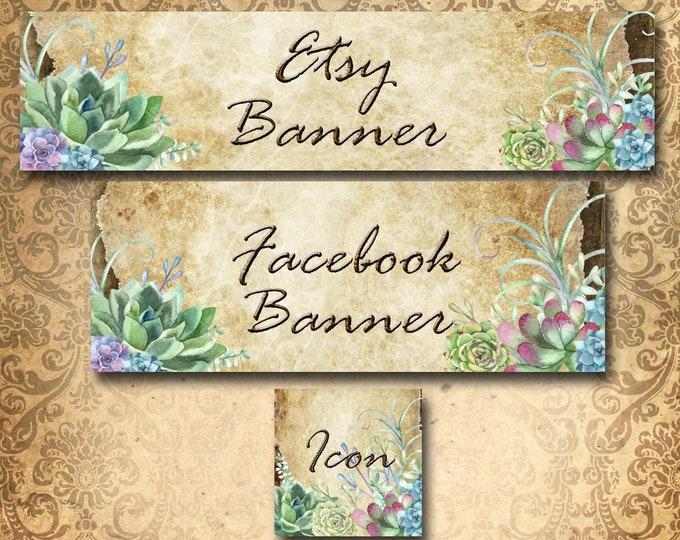 Custom SHOP BANNER Set•Facebook Cover•Succulents