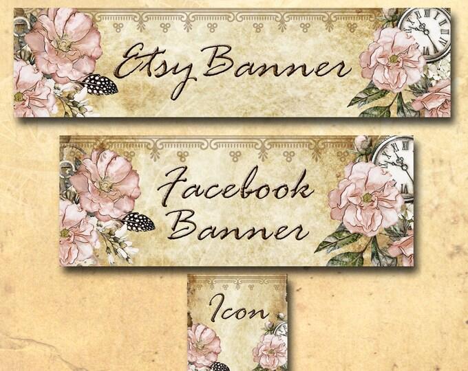 Custom SHOP BANNER Set•Facebook Cover•Posh Garden