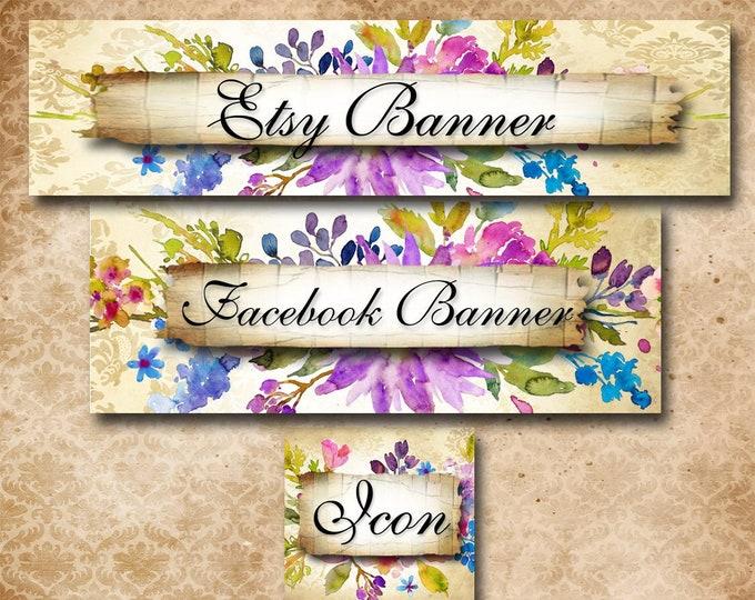 Custom SHOP BANNER Set•Facebook Cover•Purple Posie