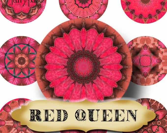 RED QUEEN•Chakra Mandalas•1x1 Circle•Printable Digital Image•Healing Mandalas•Magnets•Gift Tags•Yoga