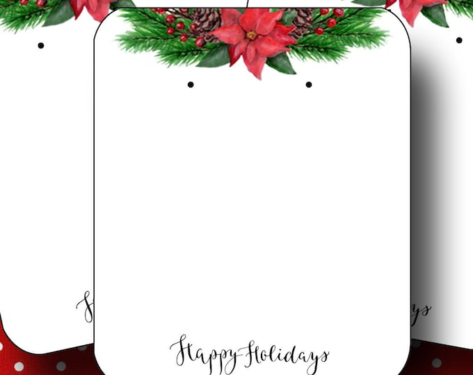 HOLIDAY•Earring Cards•2x3 Earring Cards•Jewelry Cards•Holiday Tags•Christmas Earring Cards•Holiday Labels•Christmas Tags•Poinsetta 2