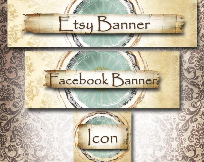 Custom SHOP BANNER Set•Facebook Cover•Vintage Earth 1 Design