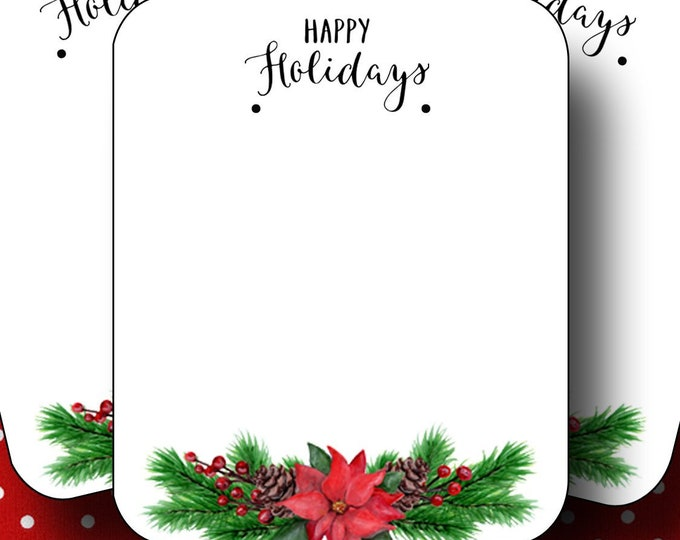 HOLIDAY•Earring Cards•2x3 Earring Cards•Jewelry Cards•Holiday Tags•Christmas Earring Cards•Holiday Labels•Christmas Tags•Poinsetta 3