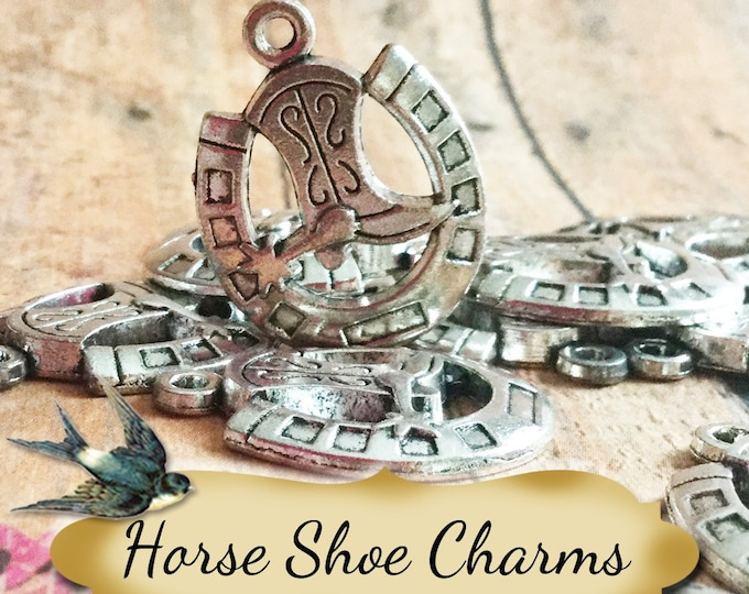 HORSESHOE with Cowboy Boot Charms•Earring Parts•Necklace Parts•Jewelry Components•Jewelry Charms•Sold in sets of 2
