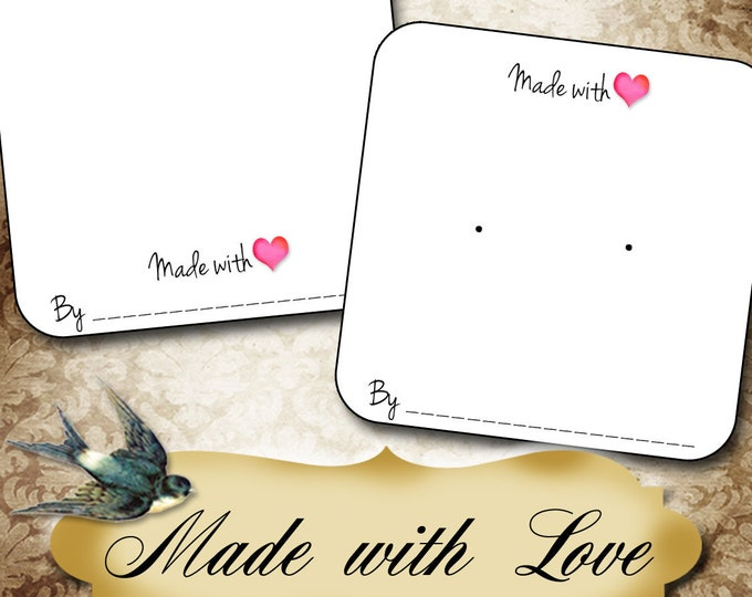 60•MADE With LOVE•Necklace Card•Earring Cards•Jewelry Cards•Display Card•Display•Earring Holder•Necklace Holder•2x2 or 3x3
