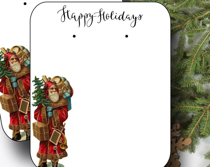 HOLIDAY•Earring Cards•2x3 Earring Cards•Jewelry Cards•Holiday Tags•Christmas Earring Cards•Holiday Labels•Christmas Tags•Santa 1