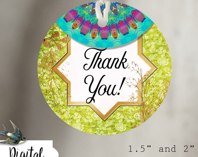 DIY BOHO VIBE•Thank You Tags•Printable Tags•Digital Tags•Favor Tags•Boho 2