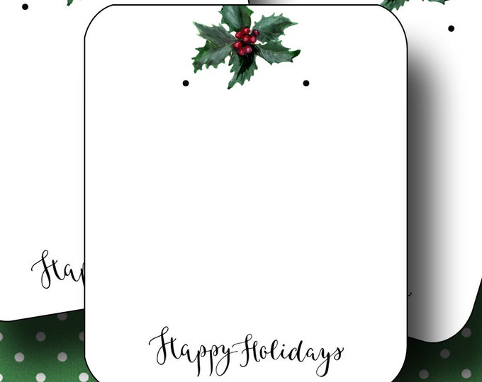 HOLIDAY•Earring Cards•2x3 Earring Cards•Jewelry Cards•Holiday Tags•Christmas Earring Cards•Holiday Labels•Christmas Tags•Holly 1