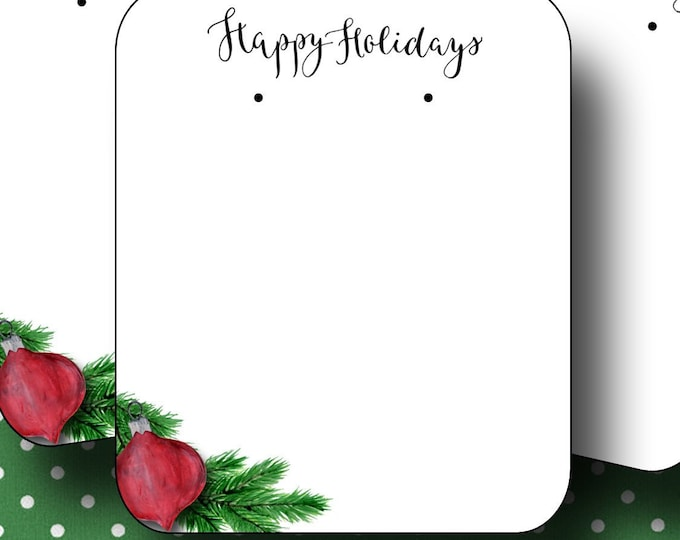 HOLIDAY•Earring Cards•2x3 Earring Cards•Jewelry Cards•Holiday Tags•Christmas Earring Cards•Holiday Labels•Christmas Tags•Wreath 5