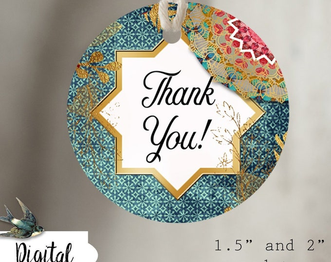DIY BOHO VIBE•Thank You Tags•Printable Tags•Digital Tags•Favor Tags•Boho 1