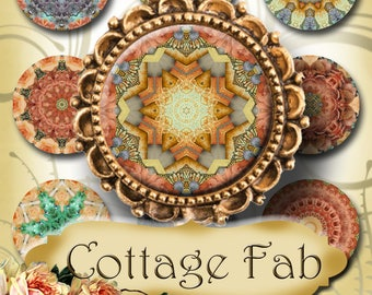 COTTAGE FAB•1x1 Round Images•Printable Digital Images•Cards•Gift Tags•Stickers•Magnets•Digital Collage Sheet