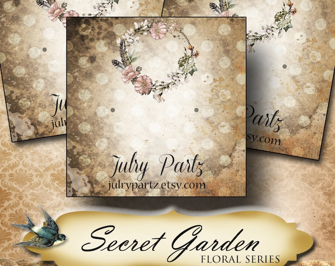 SECRET GARDEN Series 1•Custom Tags•Labels•Earring Display•Clothing Tags•Custom •Boutique Card•Tags•Custom Tags•Custom Labels