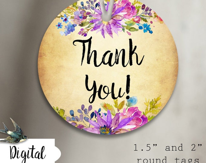 DIY•GARDEN FLORAL 8•Thank You Tags•Printable Tags•Digital Tags•Favor Tag