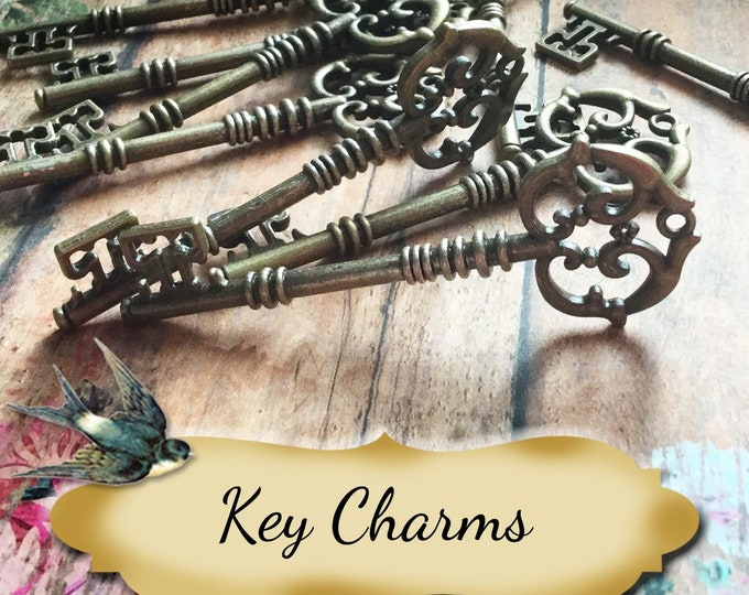 KEY Charms•Jewelry Parts•Necklace Parts•Jewelry Components•Jewelry Charms•Sold by each