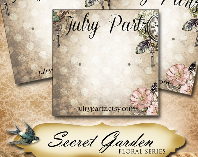 SECRET GARDEN Series 4•Custom Tags•Labels•Earring Display•Clothing Tags•Custom •Boutique Card•Tags•Custom Tags•Custom Labels