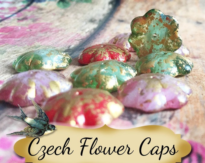 Czech FLOWER CAPS•Earring Parts•Necklace Parts•Jewelry Components•Jewelry Beads•Czech Beads
