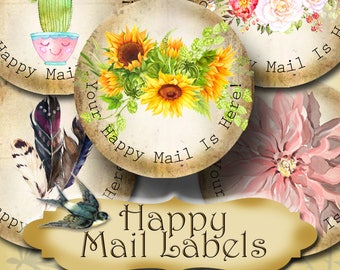 Happy Mail •60 Custom 1.5 x 1.5 Round STICKERS•Round Labels•Tags•Package Labels•Custom Stickers•Custom Labels•Packaging•