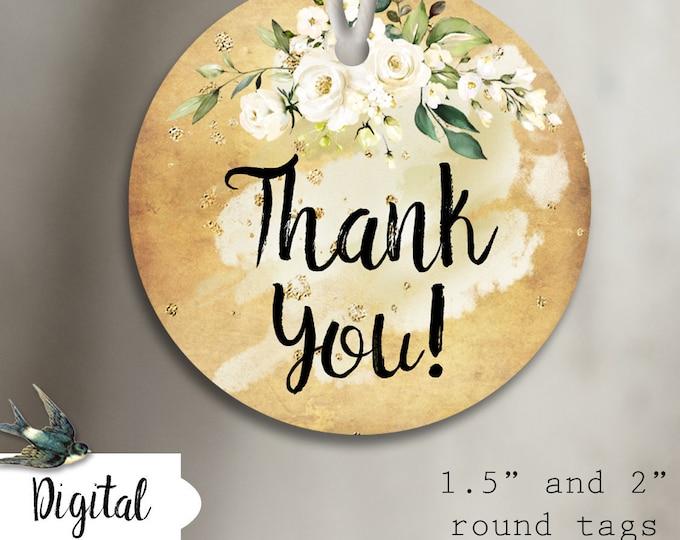 DIY•COTTON ROSE 1•Thank You Tags•Printable Tags•Digital Tags•Favor Tags