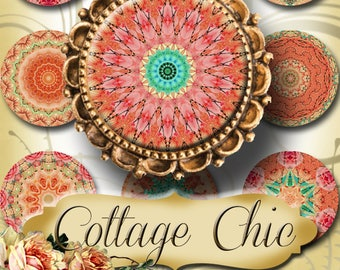 COTTAGE CHIC•1x1 Round Images•Printable Digital Images•Cards•Gift Tags•Stickers•Magnets•Digital Collage Sheet