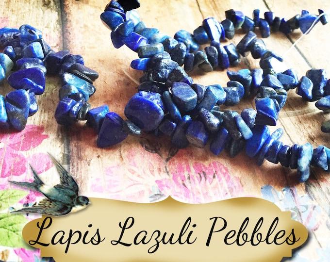 LAPIS LAZULI Pebbles•Jewelry Parts•Necklace Beads•Jewelry Beads•Jewelry Stones•1 Strand