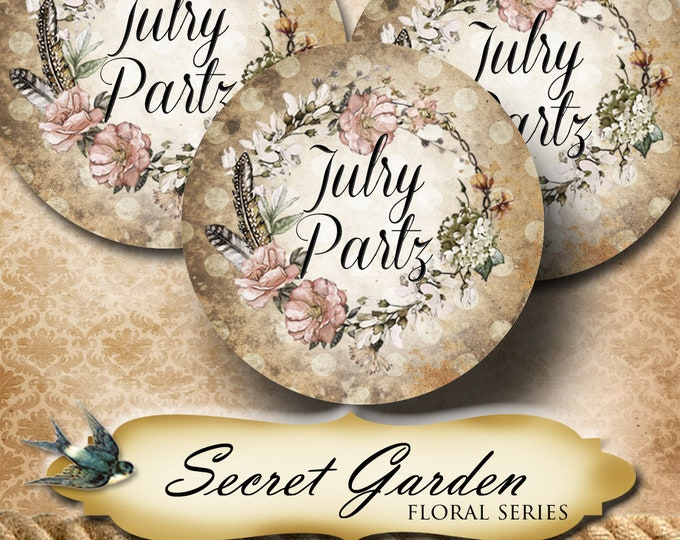 SECRET GARDEN 1•60 Custom 1.5 x 1.5 Round STICKERS•Labels•Package Labels•Custom Stickers•Custom Labels