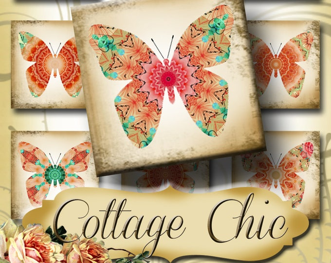COTTAGE CHIC•1x1 Square Butterfly Images•Printable Digital Images•Cards•Gift Tags•Stickers•Magnets•Digital Collage Sheet