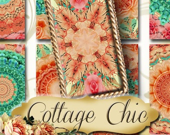 COTTAGE CHIC•1x2 Images•Printable Digital Images•Cards•Gift Tags•Stickers•Magnets•Digital Collage Sheet