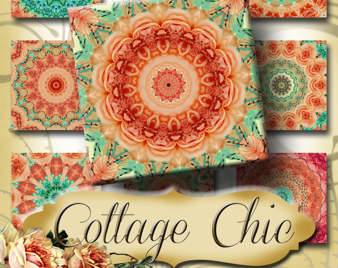 COTTAGE CHIC•1x1 Square Images•Printable Digital Images•Cards•Gift Tags•Stickers•Magnets•Digital Collage Sheet