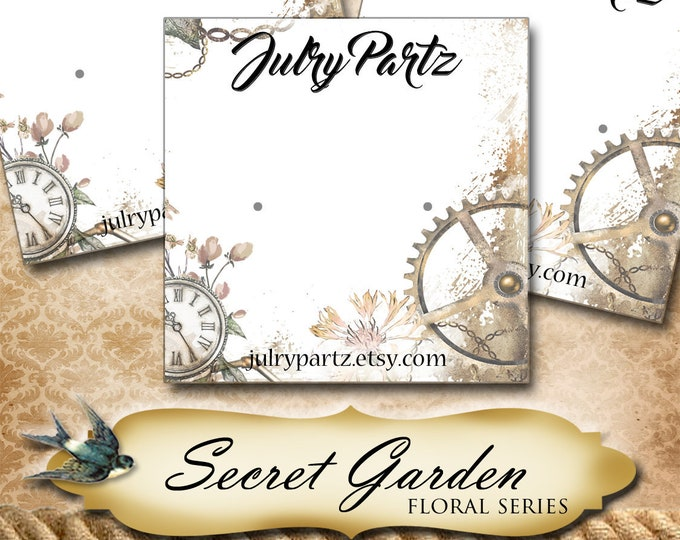 SECRET GARDEN Series 3•Custom Tags•Labels•Earring Display•Clothing Tags•Custom •Boutique Card•Tags•Custom Tags•Custom Labels