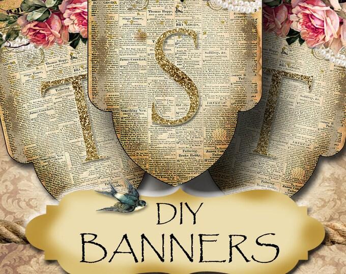 VINTAGE NEWSPAPER Banner•Diy Banner Images•Printable Digital Images•Birthday Banner•Wedding Decorations•Printables•Digital Collage Sheet