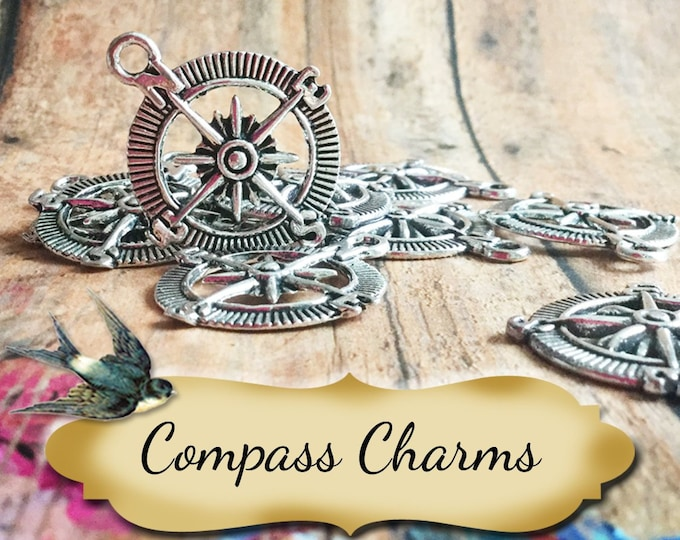 COMPASS Charms•Earring Parts•Necklace Parts•Jewelry Components•Jewelry Charms•Set of 2