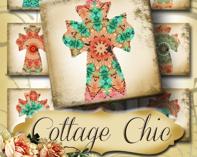 COTTAGE CHIC•1x1 Square Cross Images•Printable Digital Images•Cards•Gift Tags•Stickers•Magnets•Digital Collage Sheet