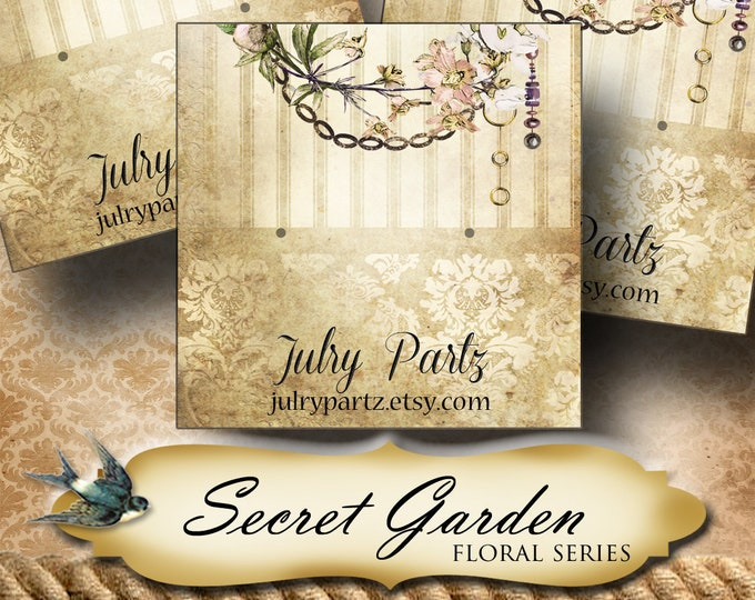 SECRET GARDEN Series 2•Custom Tags•Labels•Earring Display•Clothing Tags•Custom •Boutique Card•Tags•Custom Tags•Custom Labels