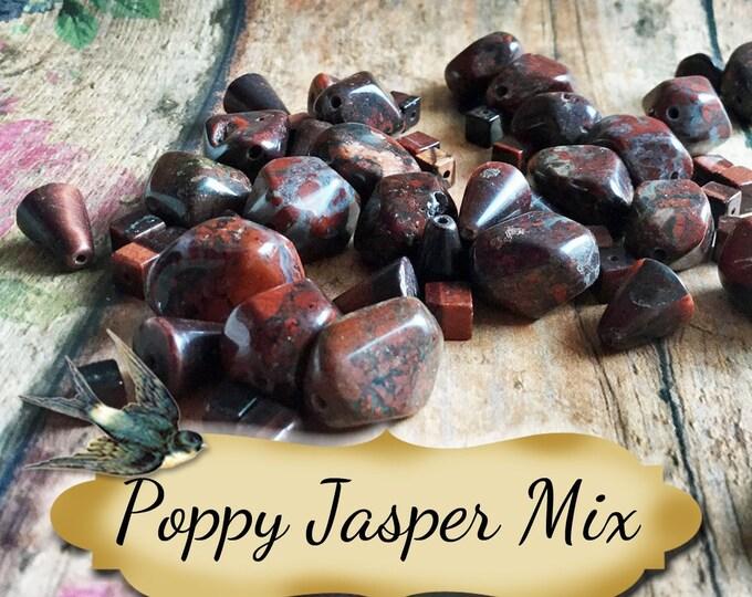 POPPY JASPER Nugget Mix•Jewelry Parts•Necklace Beads•Jewelry Beads•Jewelry Stones•1-3.7 oz bag