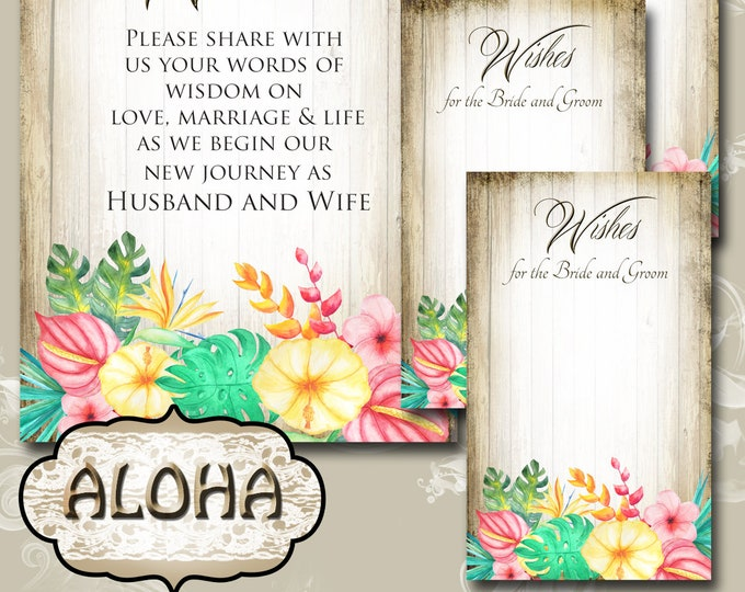 ALOHA• Set of Wedding Wish Sign and Tags•Wish Tree Cards•Wedding Wish Tags•Wish Tags•Bridal Shower•Wedding Shower•Country Wedding