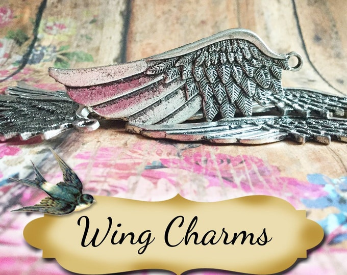 Angel WING Charms•Earring Parts•Necklace Parts•Jewelry Components•Jewelry Charms•Sold in sets of 2