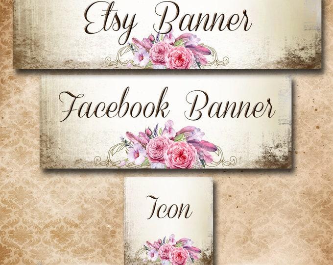 Custom SHOP BANNER Set•Facebook Cover•Audrey Rose Design