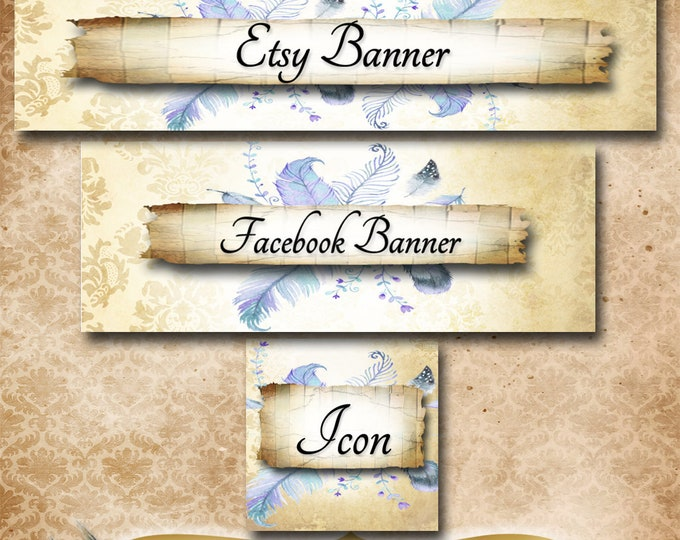 Custom SHOP BANNER Set•Facebook Cover•Denim Feather Design