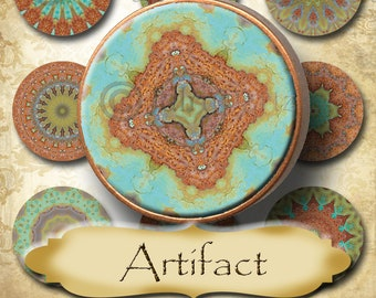 ARTIFACT•1x1 Round Images•Printable Digital Images•Cards•Gift Tags•Stickers•Magnets•Digital Collage Sheet