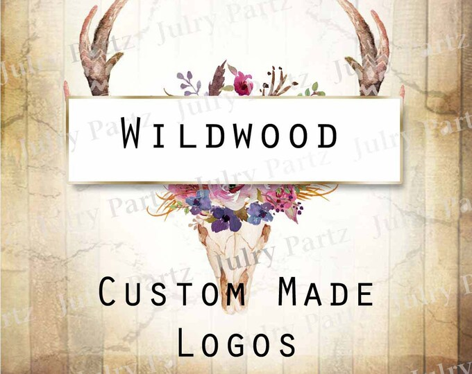 LOGO in WILDWOOD Deer Skull•Premade Logo•Jewelry Card Logo•Flower Logo•Custom Logo•Shop Logo