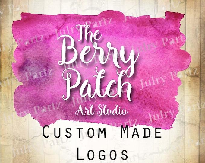 LOGO in BERRY Patch•Premade Logo•Jewelry Card Logo•Watercolor Logo•Custom Logo•Shop Logo