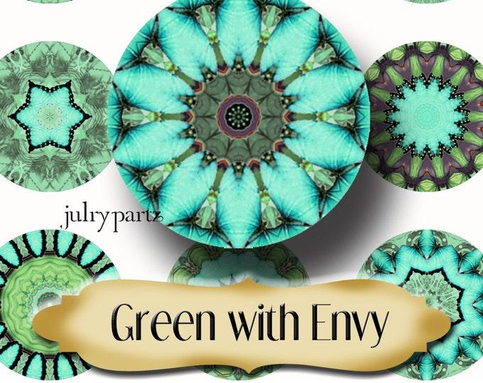 GREEN With ENVY•Chakra Mandalas•1x1 Circle•Printable Digital Image•Healing Mandalas•Magnets•Gift Tags•Yoga
