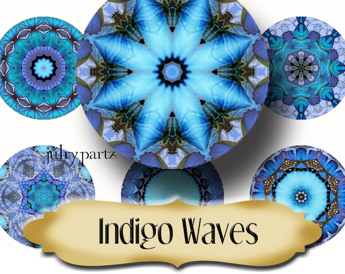 INDIGO WAVES•Chakra Mandalas•1x1 Circle•Printable Digital Image•Healing Mandalas•Magnets•Gift Tags•Yoga