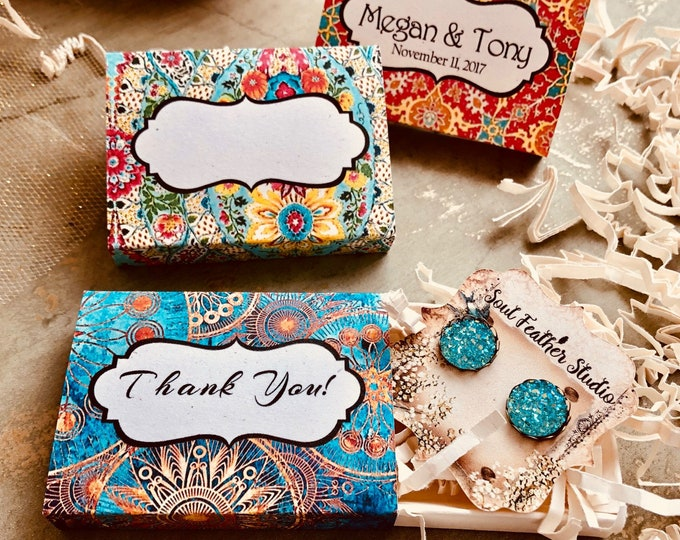 Set of 12 •2x2.60 GIFT BOX•Necklace Box•Jewelry Box•Necklace Holder•Gift Packaging•Earring Holder•Necklace Holder• Boho 1