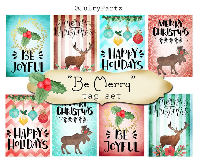 8 DIY•2.5x3.5 Tags•BE MERRY Tag Set #1•Thank You Tags•Printable Tags•Digital Tags•Favor Tags•Gift Tags