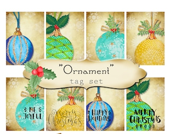 8 DIY•2.5x3.5 Tags•ORNAMENT Tag Set #1•Thank You Tags•Printable Tags•Digital Tags•Favor Tags•Gift Tags