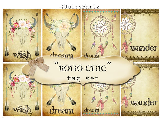 8 DIY•2.5x3.5 Tags•BOHO CHIC Tag Set #1•Thank You Tags•Printable Tags•Digital Tags•Favor Tags•Gift Tags