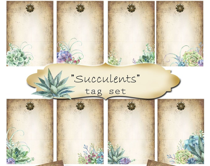 8 DIY•2.5x3.5 Tags•SUCCULENTS Tags•Digital Tags•Favor Tags•Gift Tags