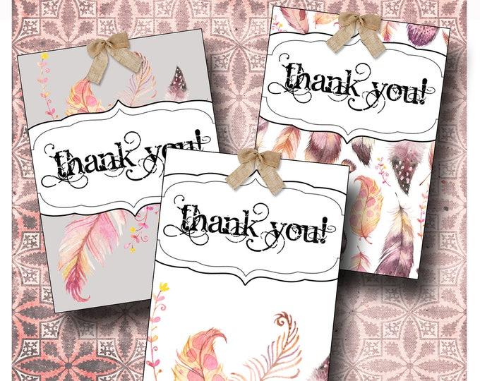 8 DIY•2.5x3.5 Tags•FEATHER Tag Set #1•Thank You Tags•Printable Tags•Digital Tags•Favor Tags•Gift Tags
