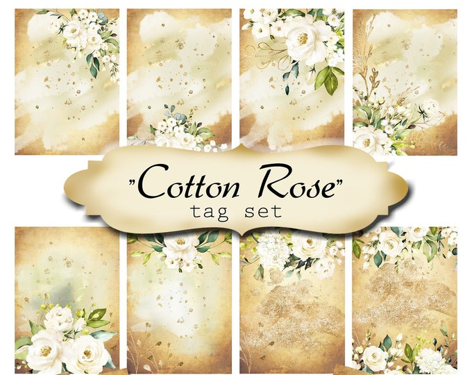 8 DIY•2.5x3.5 Tags•COTTON ROSE Blank Tags•Digital Tags•Favor Tags•Gift Tags
